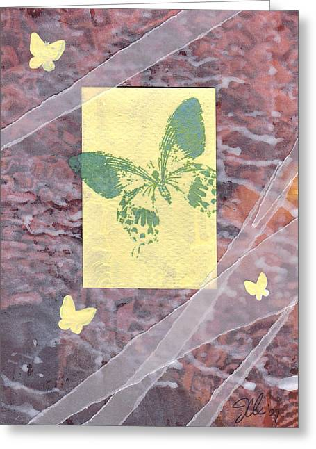Green Butterfly Greeting Card by Jennifer Bonset