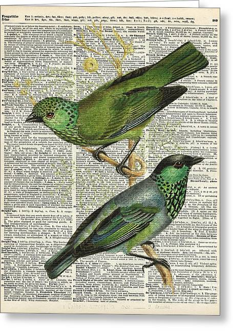 Green Canary Birds Couple Over Vintage Dictionary Book Page Greeting Card by Jacob Kuch