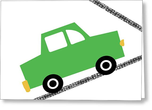 Green Car On Road- Art By Linda Woods Greeting Card