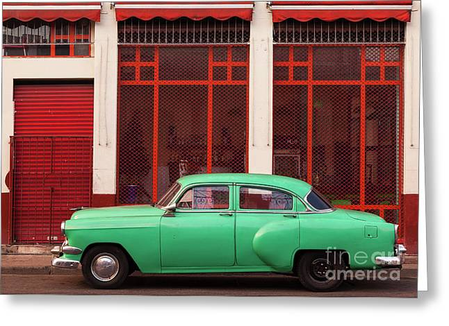 Greeting Card featuring the photograph Green Car, Red Walls. by Brenda Tharp