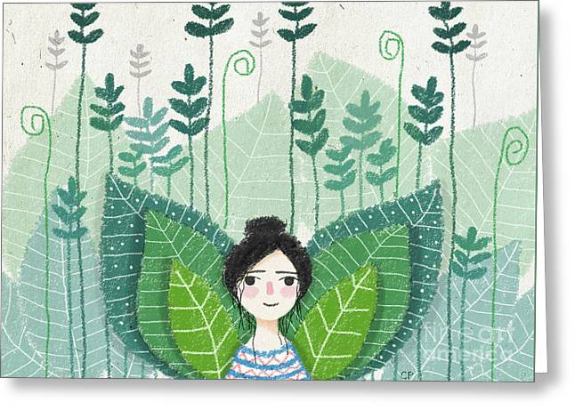 Green Greeting Card by Carolina Parada