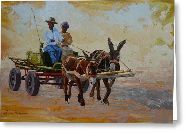 Green Cart Greeting Card by Yvonne Ankerman