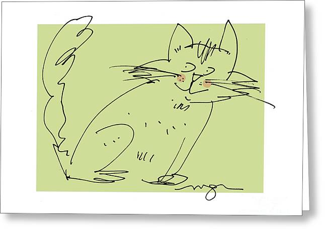 Green Cat Greeting Card