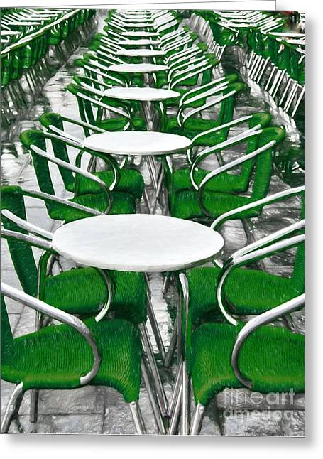 Green Chairs In Venice Greeting Card by Mel Steinhauer