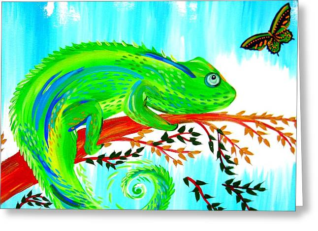 Green Chameleon Greeting Card by Cathy Jacobs