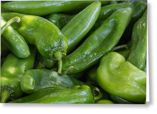 Green Chile Peppers Greeting Card