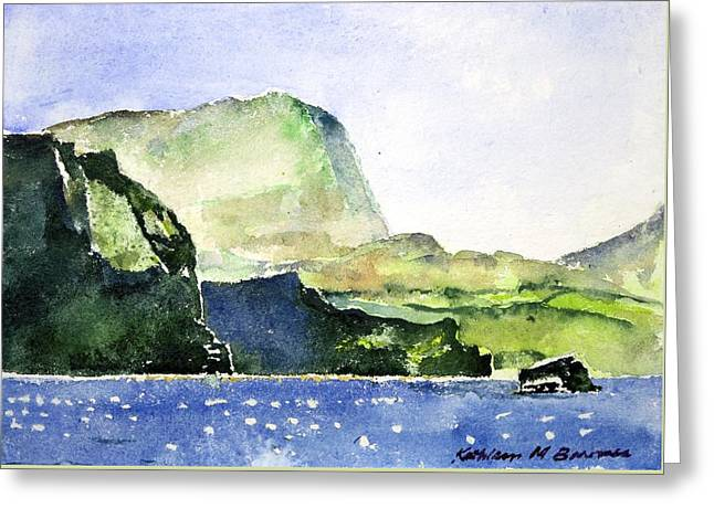 Green Cliffs And Sea Greeting Card