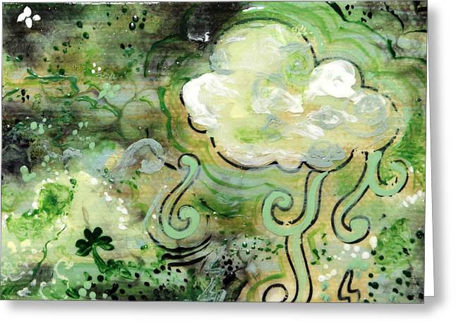 Thunderstorm Mixed Media Greeting Cards - Green Cloud - Miniature Art Greeting Card by Jennifer Kelly