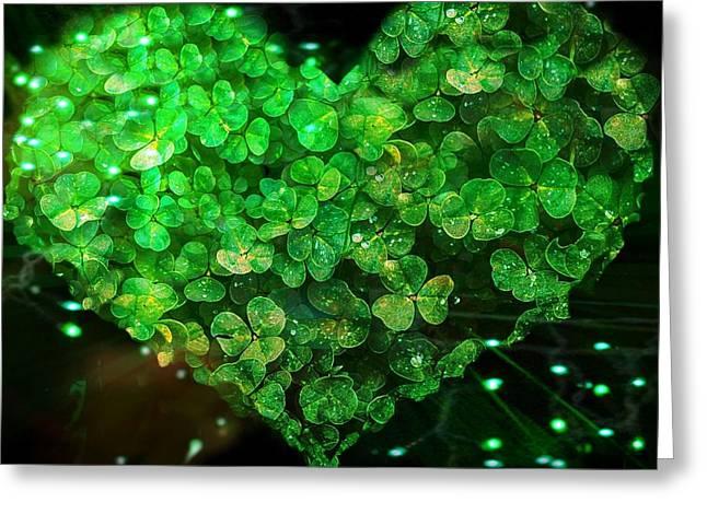Green Clover Heart Greeting Card