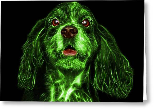 Green Cocker Spaniel Pop Art - 8249 - Bb Greeting Card