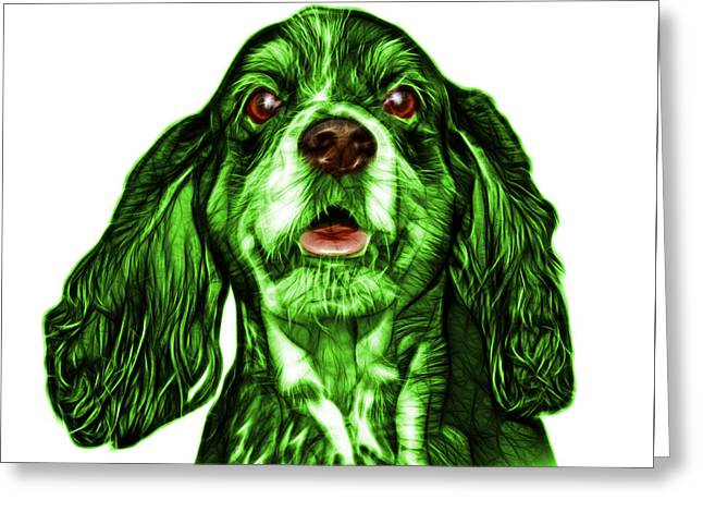 Green Cocker Spaniel Pop Art - 8249 - Wb Greeting Card