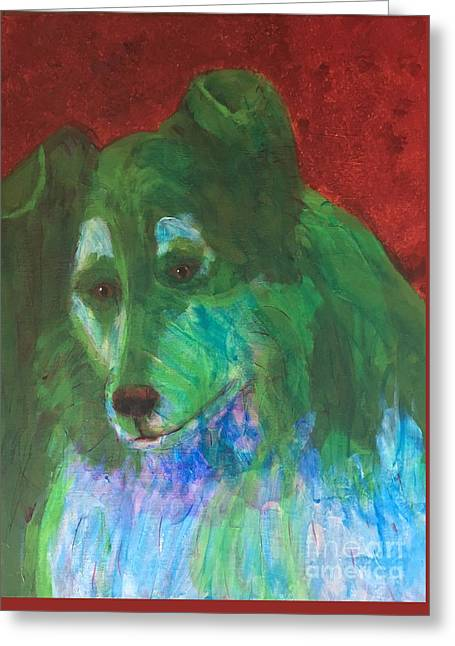 Greeting Card featuring the painting Green Collie by Donald J Ryker III