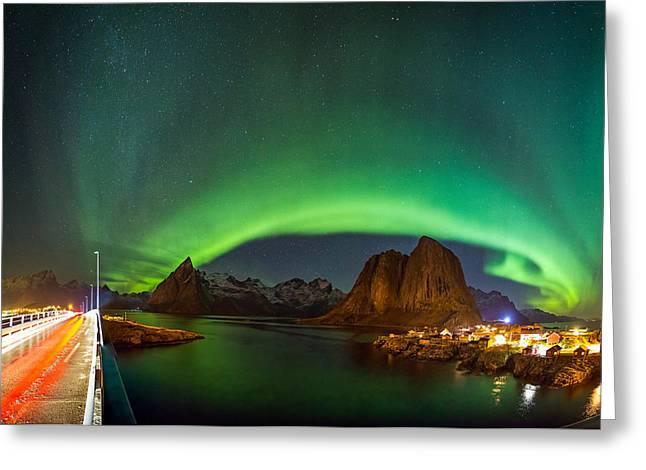 Green Curtains Greeting Card by Alex Conu