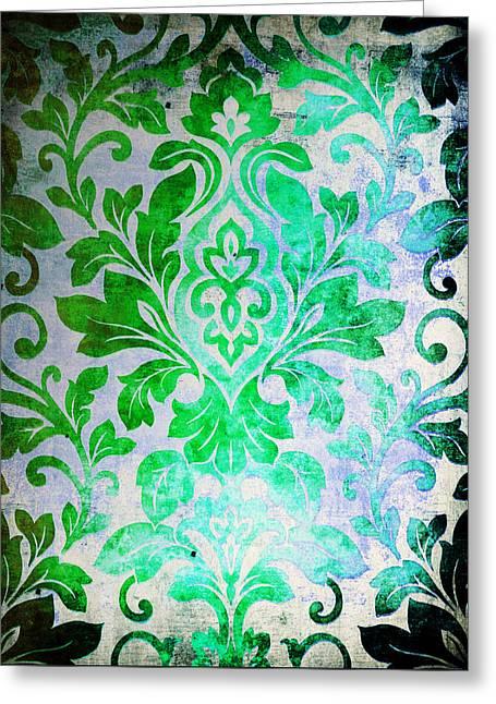 Green Damask Pattern Greeting Card