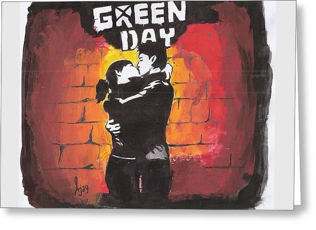 Green Day Greeting Card by Ajay Atroliya