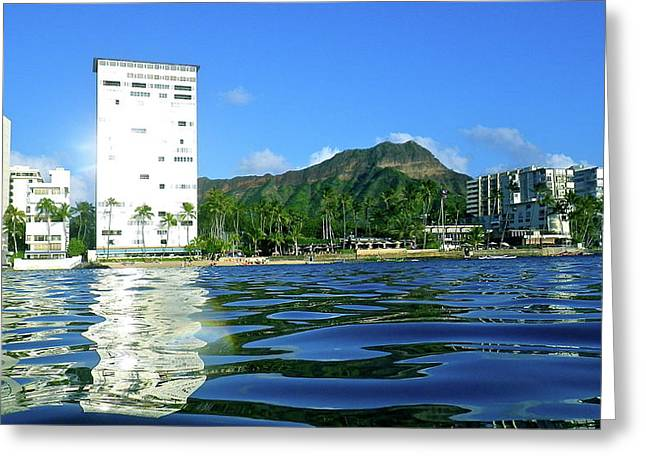 Green Diamond Head From The Water Greeting Card by Erika Swartzkopf