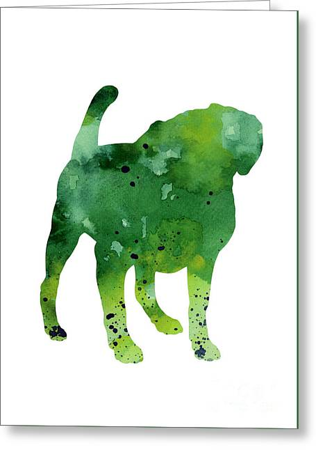 Green Dog Watercolor Poster Greeting Card by Joanna Szmerdt