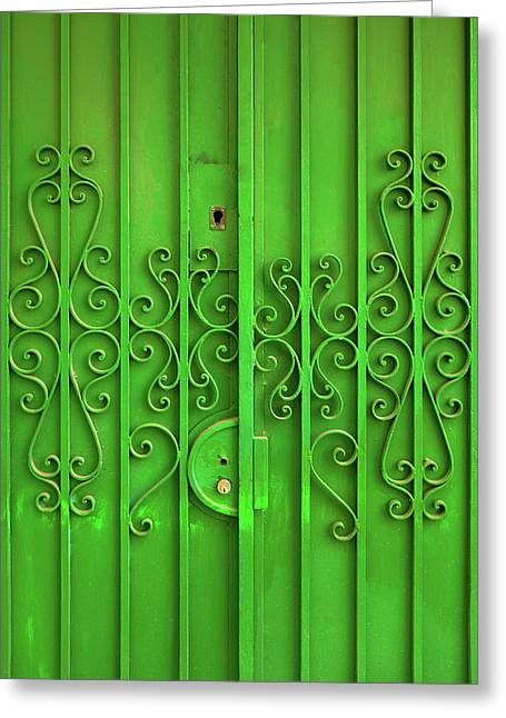 Green Door Greeting Card by Carlos Caetano