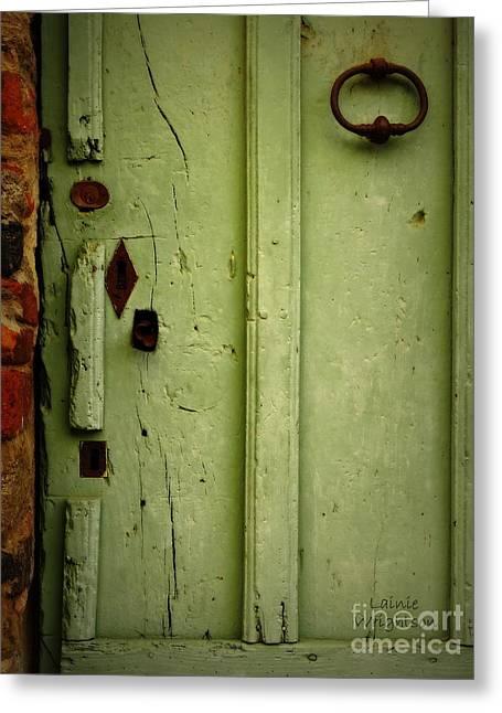 Green Door Details Greeting Card