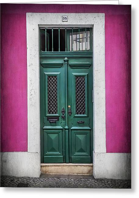 Green Door In Lisbon Greeting Card by Carol Japp