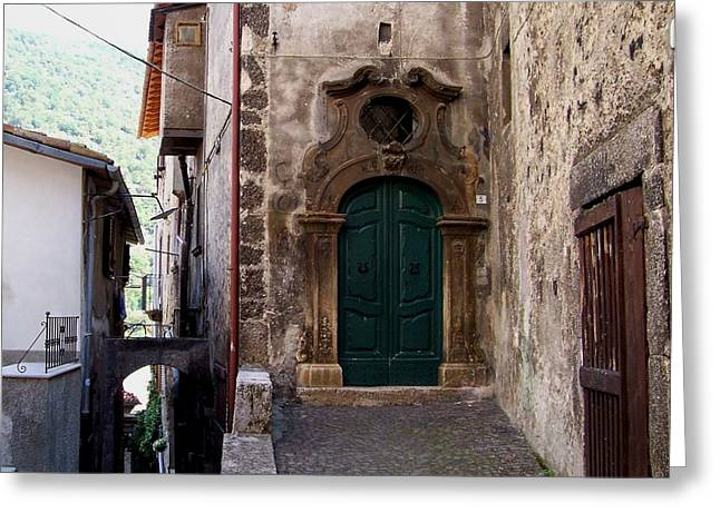 Greeting Card featuring the photograph Green Door by Judy Kirouac