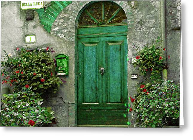 Green Door Greeting Card by Karen Lewis