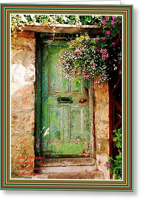 Green Door On Dorian Street H A With Decorative Ornate Printed Frame. Greeting Card