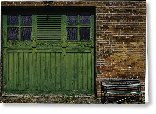Green Door Shaker Wash House Greeting Card by Garry Gay