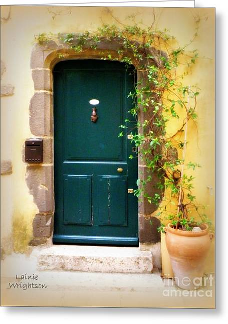 Green Door With Vine Greeting Card