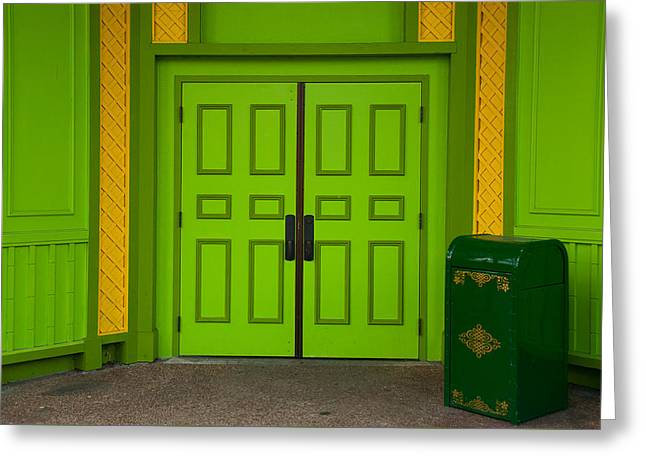 Greeting Card featuring the photograph Green Doors by Monte Stevens