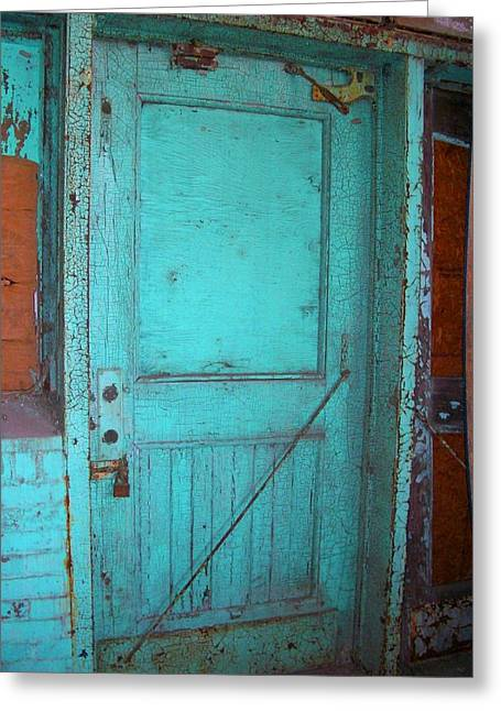 Green Doorway To The Past Greeting Card