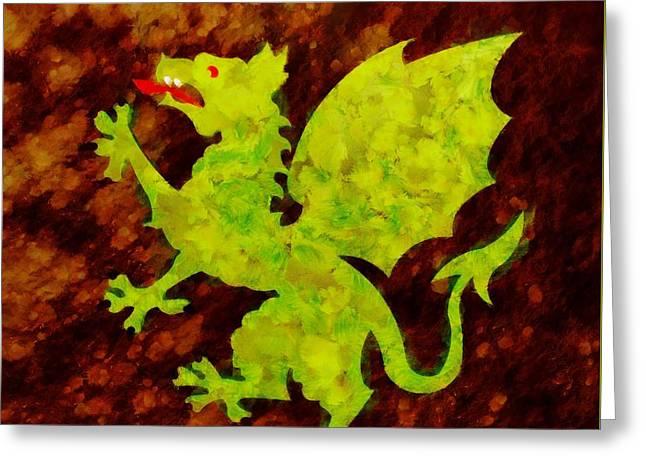 Green Dragon By Sarah Kirk Greeting Card