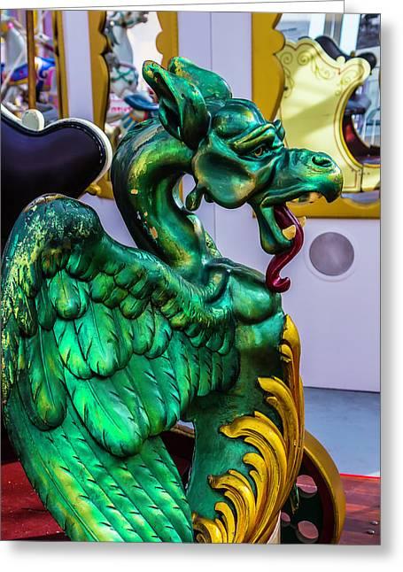 Green Dragon Carrousel Ride Greeting Card