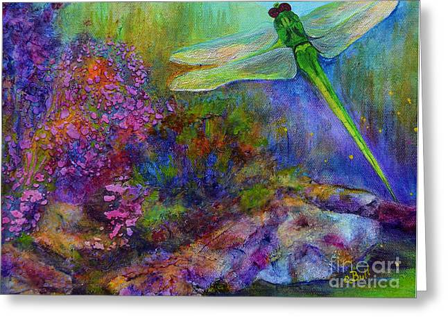 Green Dragonfly Greeting Card by Claire Bull