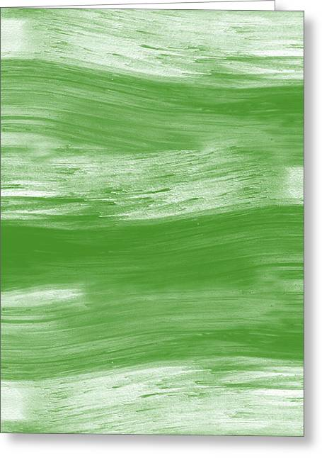 Green Drift- Abstract Art By Linda Woods Greeting Card