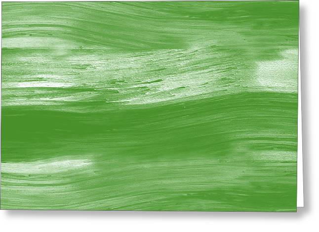Green Drift- Abstract Art By Linda Woods Greeting Card by Linda Woods