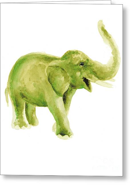 Green Elephant Watercolor Art Print Painting Greeting Card by Joanna Szmerdt