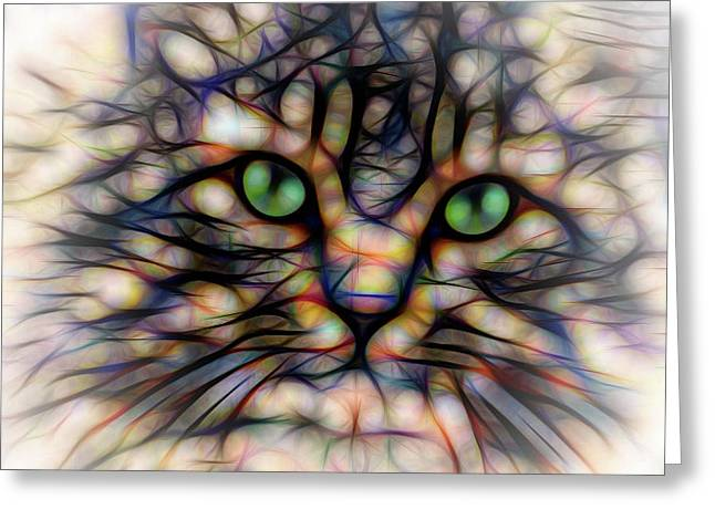 Green Eye Kitty Square Greeting Card by Terry DeLuco