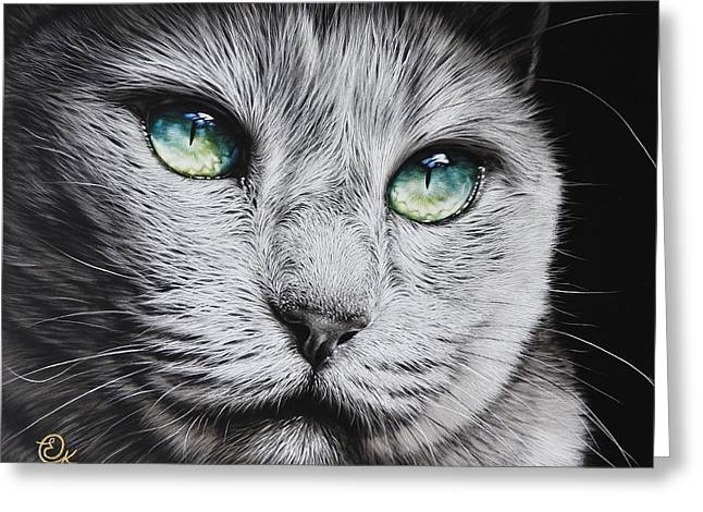 Green-eyed Diva Greeting Card