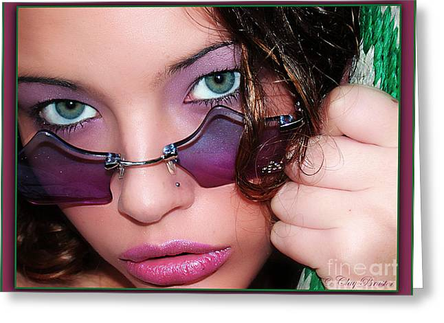 Green Eye'd Girl Greeting Card by Clayton Bruster