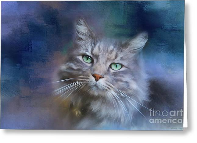 Green Eyes - Cat Art By Michelle Wrighton Greeting Card by Michelle Wrighton