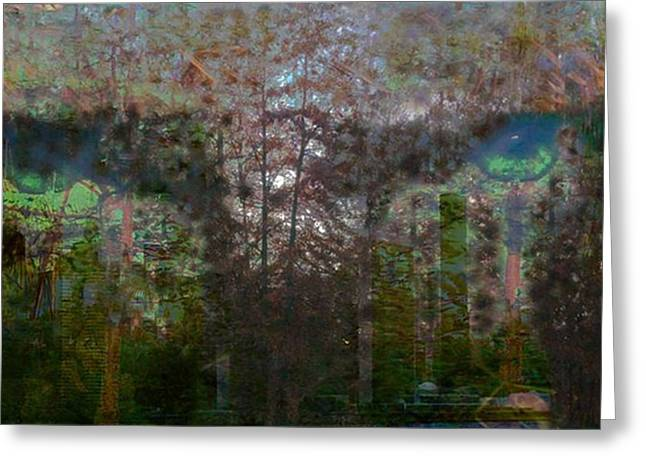 Green Eyes' Reflections Greeting Card by Carole Guillen
