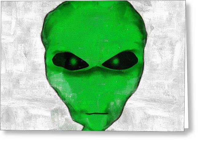 Green Faced Alien Greeting Card by Esoterica Art Agency