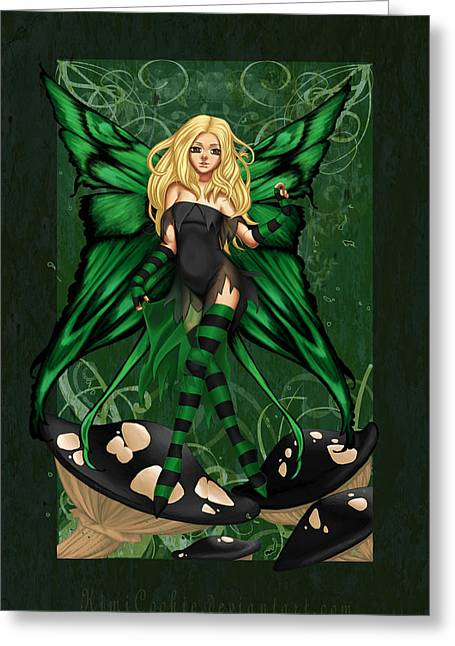 Green Fairy Of Poison Greeting Card by KimiCookie Williams