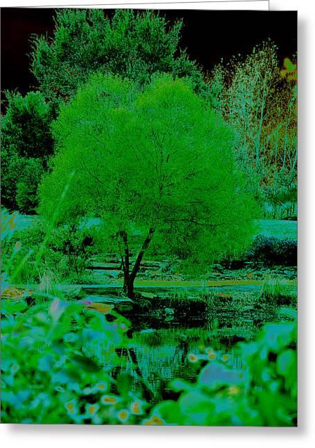 Green Fantasy Greeting Card by Etha  Walters