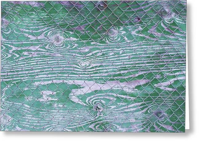 Green Fence Greeting Card by Anna Villarreal Garbis