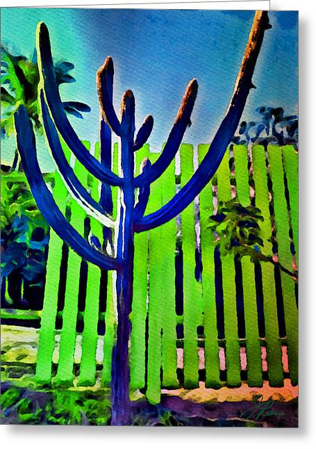 Green Fence Greeting Card