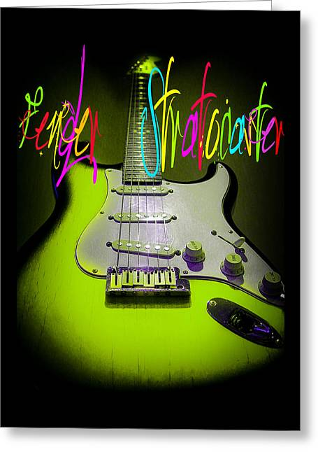 Greeting Card featuring the photograph Green Fender Stratocaster  by Guitar Wacky