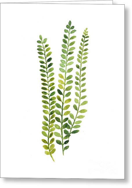Green Fern Watercolor Minimalist Painting Greeting Card