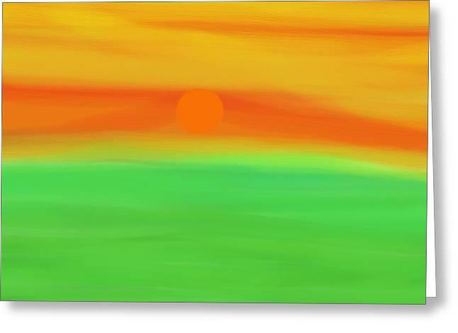 Green Field Summer Sunset Greeting Card